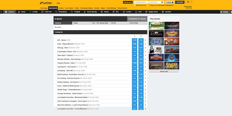 betfair.com esport website