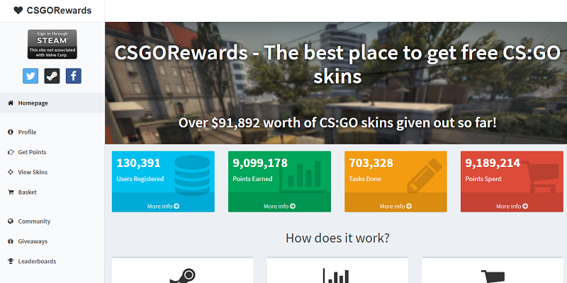 CSGORewards website